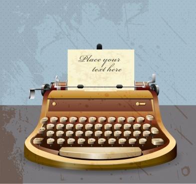 antique typing machine icon shiny colored 3d design