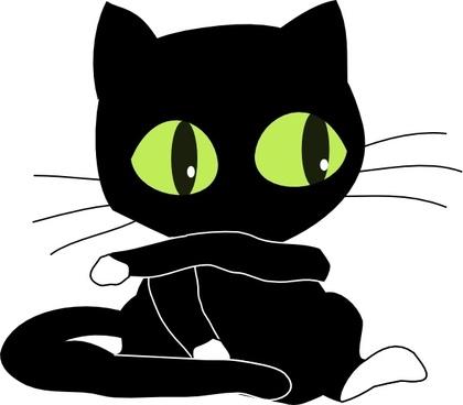 Antontw Blackcat With White Sockets clip art