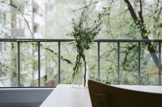 apartment balcony bottle building desk flower home