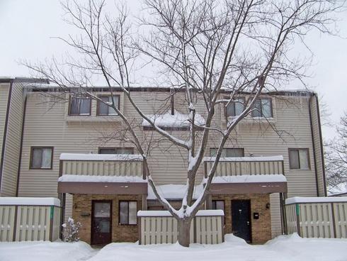 apartment building in snow