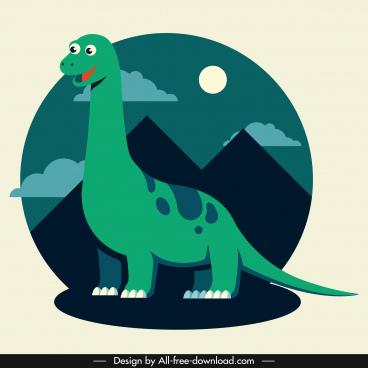 apatosaurus dinosaur icon cartoon design cute stylized