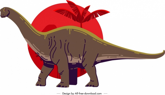 apatosaurus dinosaur icon colored cartoon sketch