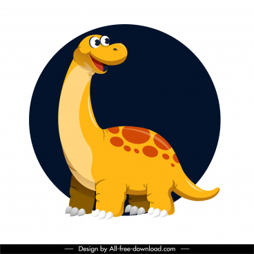 apatosaurus dinosaur icon cute cartoon character design