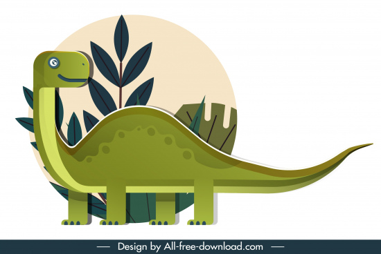 apatosaurus dinosaur icon cute cartoon sketch colored flat