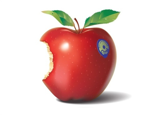 red apple vector illustration with half bite sign