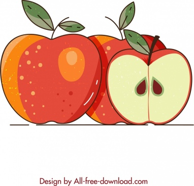 apple background slice decor colored classical design