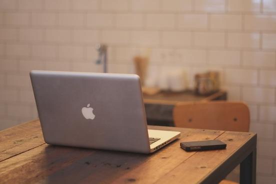 apple chair computer desk iphone kitchen laptop