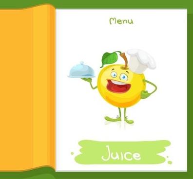 apple chef cartoon menu vector