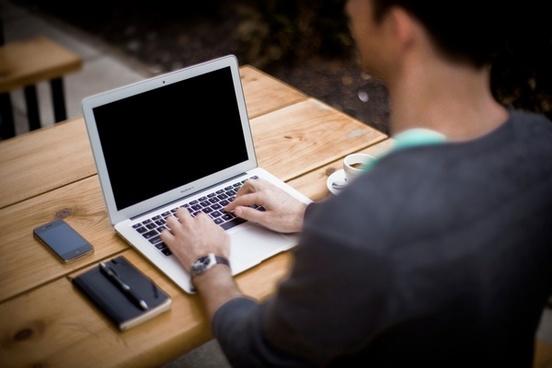 apple computer cup desk hand iphone laptop macbook
