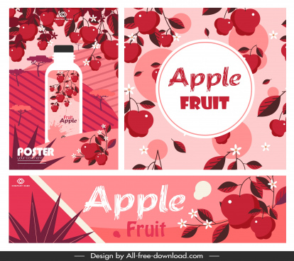 apple fruit advertising banners classic red decor