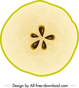 apple fruit icon flat slices horizontal cut sketch