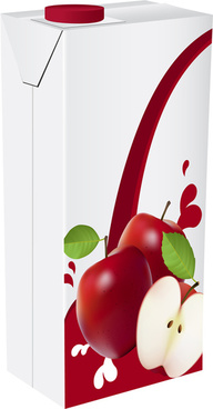 apple juice drinks package design vector