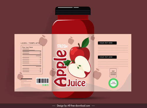 apple juice label template classic flat decor