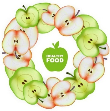 apple slice healthy food background vector