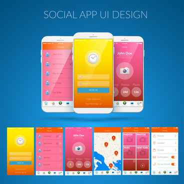 appliance ui design with smartphones illustration