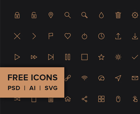 application golden outline icons set