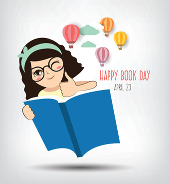 april happy book day vector design