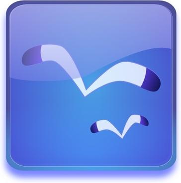 Aqua Button With Seagulls clip art