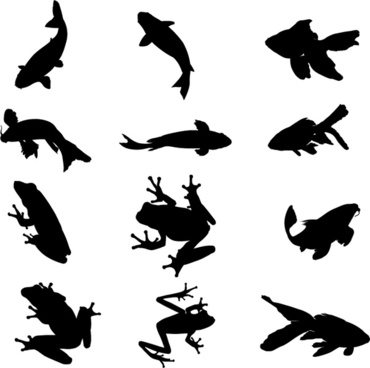 aquatic organisms vector silhouettes