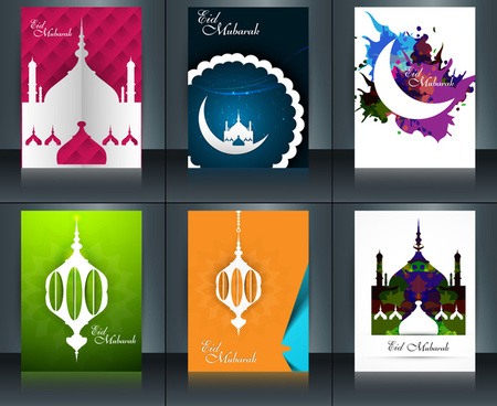 arabic islamic calligraphy mosque with colorful template brochure ramadan kareem collection card set reflection vector