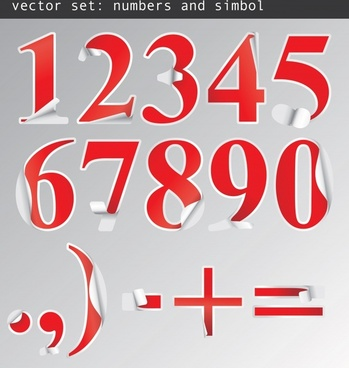 numeral stickers templates red paper cut design
