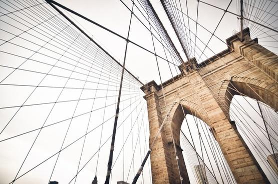arch architecture brick bridge brooklyn bridge cable