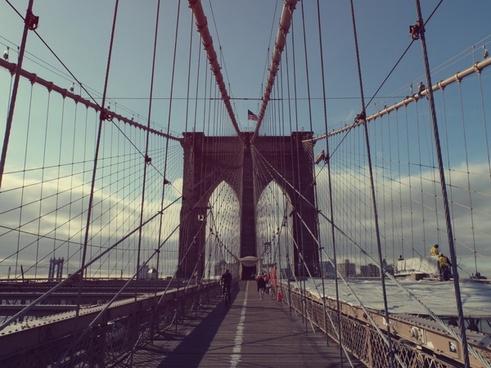 arch bike bridge brooklyn bridge cable city cloud
