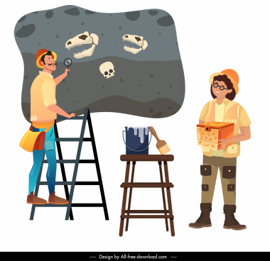 archaeologist work icons explorer dinosaur fossil cartoon sketch