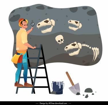 archaeologist work painting explorer dinosaur fossil sketch