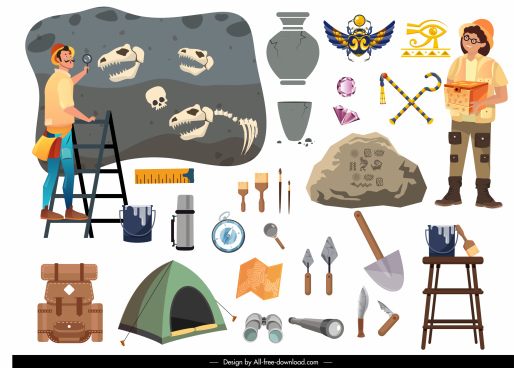 archaeology design elements tools people sketch cartoon design