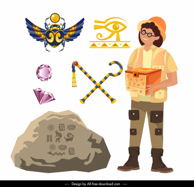 archaeology work design elements explorer ancient symbols sketch