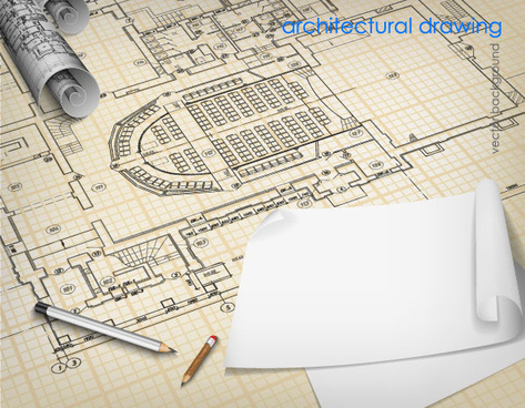 architectural drawings design elements vector