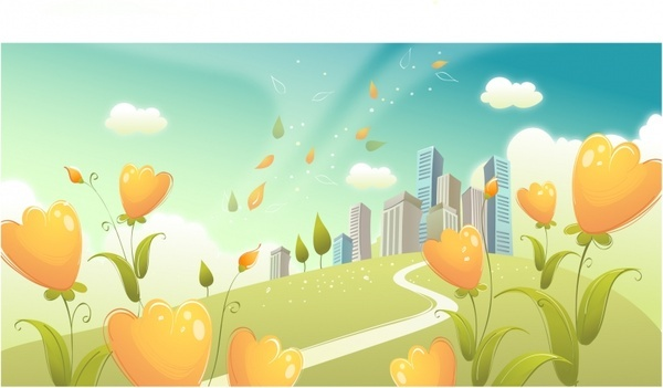 city backdrop flowers ornament colorful modern design