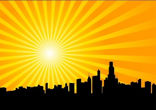 city sunrise landscape background silhouette yellow rays decor
