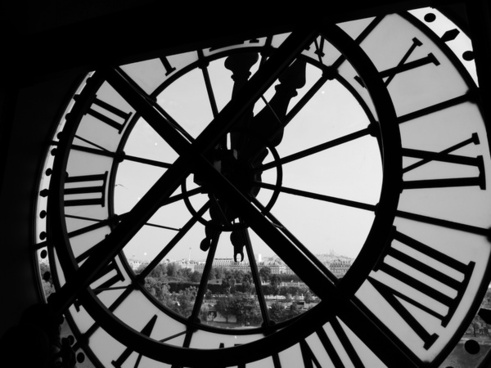 architecture black and white building circle clock