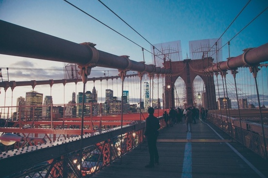 architecture bridge brooklyn bridge building city
