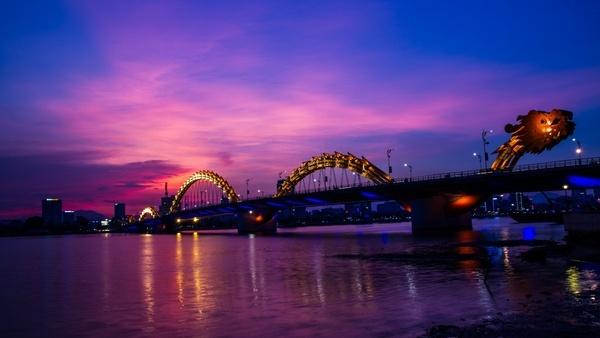 architecture bridge building city connection dusk