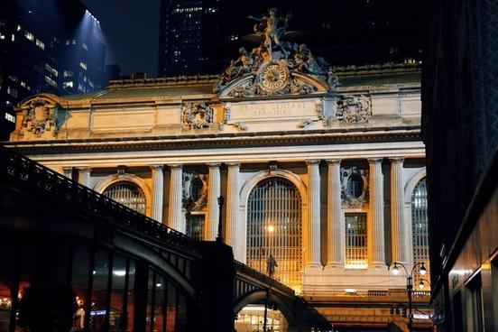 architecture building bus city column evening gate