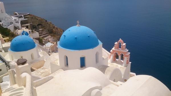 architecture caldera church coast daytime dome