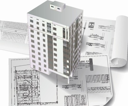 architecture drawings design elements vector graphics