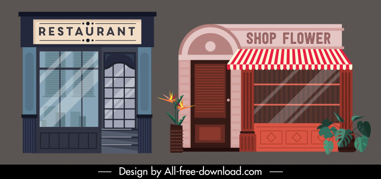 architecture exterior templates colored flat sketch