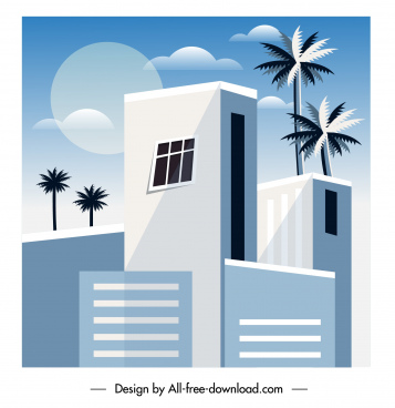 architecture painting modern design flat sketch