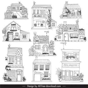 architecture templates black white lineart sketch