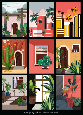 architecture templates colorful classic sketch
