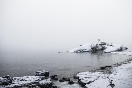 arctic beach coast daytime fog lake landscape