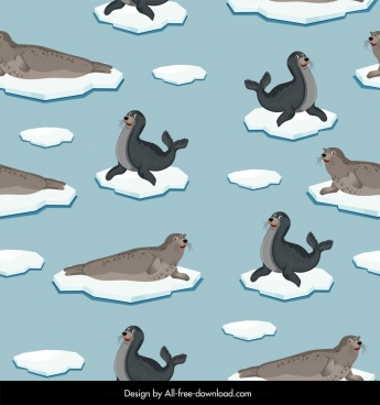 arctic pattern sea calf ice icons repeating design