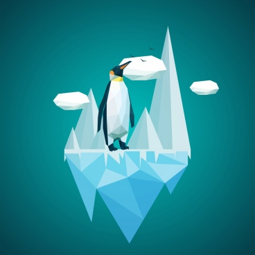 arctic penguin background ice symbol colored polygon style