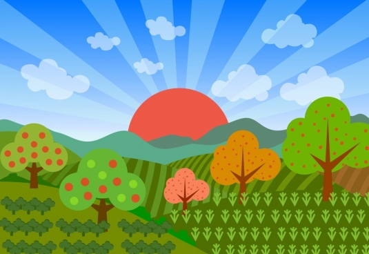 argricultural field scenery background colorful drawing sunshine ornament
