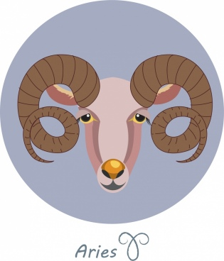 aries zodiac background antelope icon colored circle isolation