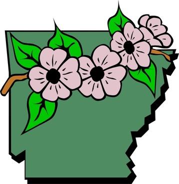 Arkansas Map And Flower clip art